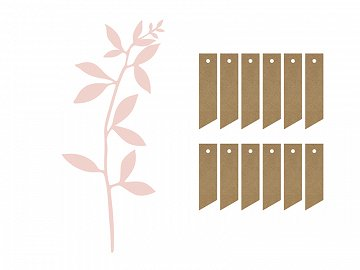 Branch with leaves decoration, powder pink (1 ctn / 50 pkt) (1 pkt / 6 pc.)