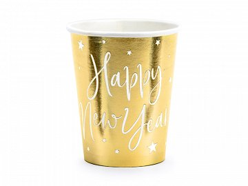 Cups Happy New Year, gold, 220ml (1 pkt / 6 pc.)