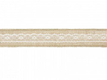 Burlap tape with lace, 5x500cm (1 ctn / 48 pc.)