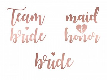 Temporary tattoos Bachelorette party, rose gold (1 pkt / 13 pc.)