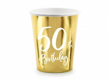 Paper cups 50th Birthday, gold, 220ml (1 pkt / 6 pc.)