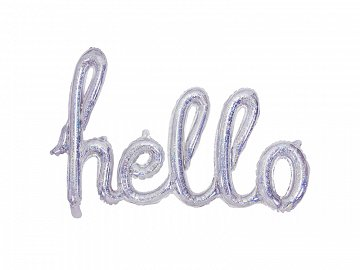 Foil Balloon Hello, 72x45cm, holographic
