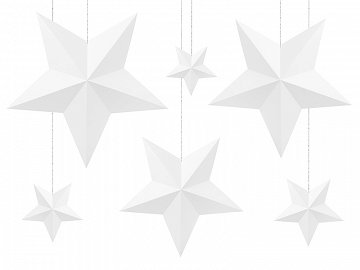 Decoration Stars, white (1 ctn / 40 pkt) (1 pkt / 6 pc.)