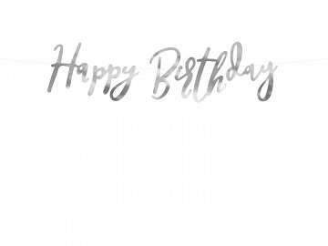Baner Happy Birthday, srebrny, 16,5x62cm (1 karton / 50 szt.)