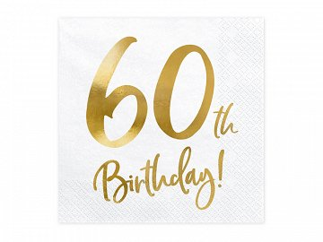 Napkins 60th Birthday, white, 33x33cm (1 pkt / 20 pc.)