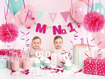 Party decorations set - I'm no. 1, pink (1 ctn / 6 pkt)