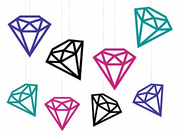 Decorations Diamonds, mix (1 pkt / 8 pc.)