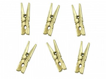 Pegs, gold metallic (1 ctn / 50 pkt) (1 pkt / 10 pc.)