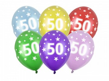 Balony 30cm, 50th Birthday, Metallic Mix (1 op. / 50 szt.)