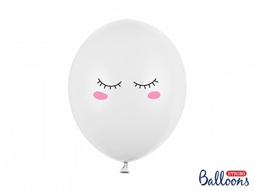 Balloons 30cm Smiley, Pastel Pure White (1 pkt / 6 pc.)