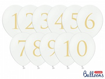 Balloons 30cm, Numbers, mix, Pastel Pure White (1 pkt / 11 pc.)