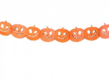 Tissue paper garland Pumpkins, orange, 3m