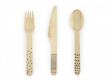 Wooden Cutlery, black, 16cm