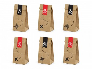 Treat bags Pirates Part, kraft, 8x18x6cm (1 pkt / 6 pc.)