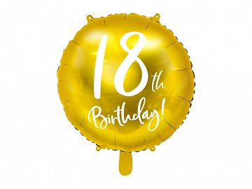 Foil Balloon 18th Birthday, gold, 45 cm