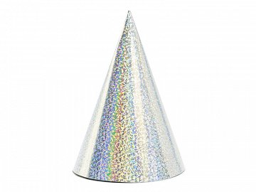Holographic party hats, silver, 10cm (1 pkt / 6 pc.)
