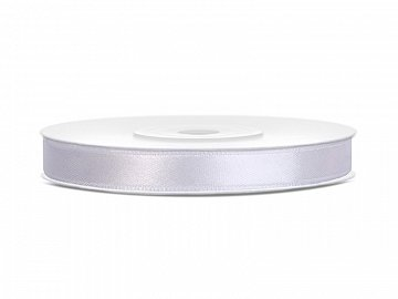 Satin Ribbon, white, 6mm/25m (1 pc. / 25 lm)