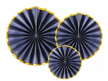 Decorative Rosettes, navy-blue (1 pkt / 3 pc.)