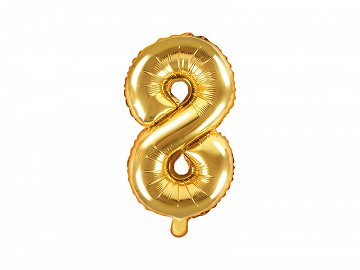 "Foil Balloon Number ""8"", 35cm, gold"