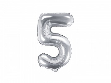 "Foil Balloon Number ""5"", 35cm, silver"