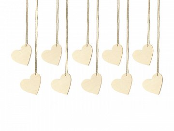 Wooden place cards Hearts, 6x5cm (1 pkt / 10 pc.)