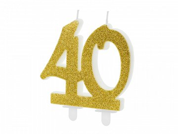 Birthday candle Number 40, gold, 7.5cm