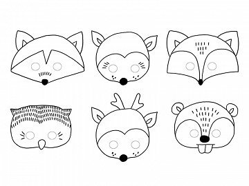 Masks Woodland, mix (1 pkt / 6 pc.)