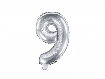 "Foil Balloon Number ""9"", 35cm, silver"