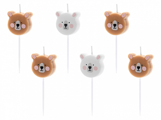 Birthday candles Bear, mix, 3cm (1 pkt / 6 pc.)
