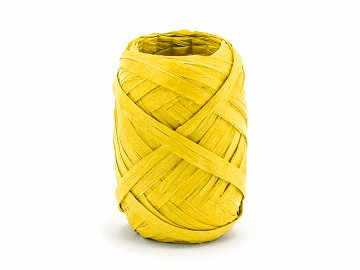 Raffia ribbon, 5mm/10m, yellow (1 ctn / 80 pc.)