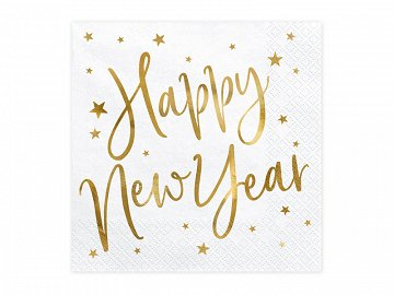 Napkins Happy New Year, white, 33x33cm (1 pkt / 20 pc.)