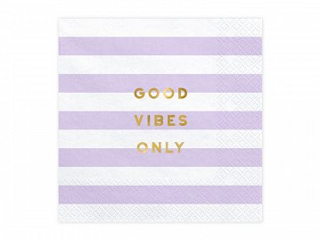 Napkins Yummy - Good vibes only, light lilac, 33x33cm (1 pkt / 20 pc.)