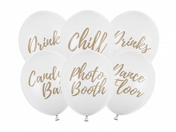 Balony 30cm, Candy Bar, Chill, Dance Floor, Drinks, Photo Booth, Pastel Pure White (1 op. / 6 szt.)