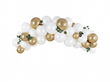 Balloon garland - white and gold, 200cm (1 pkt / 60 pc.)