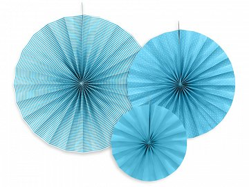 Decorative rosettes, blue (1 pkt / 3 pc.)