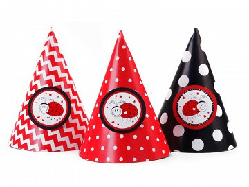 Party Hats Ladybugs, mix, 10cm (1 pkt / 6 pc.)