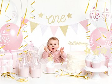 Party decorations set - 1st Birthday, gold (1 ctn / 6 pkt)