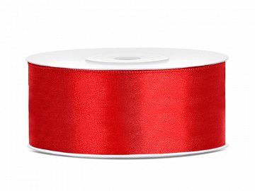Satin Ribbon, red, 25mm/25m (1 pc. / 25 lm)