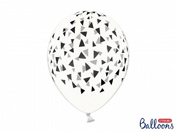 Balloons 30cm, Triangles, Crystal Clear (1 pkt / 6 pc.)