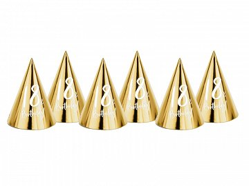 Party hats 18th Birthday, gold, 16cm (1 pkt / 6 pc.)