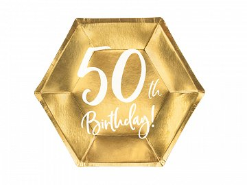 Plates 50th Birthday, gold, 20cm (1 pkt / 6 pc.)