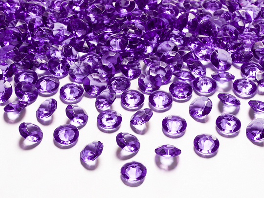 Diamond confetti, plum, 12mm (1 pkt / 100 pc.)