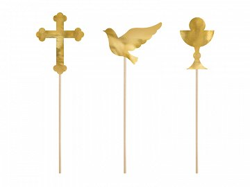 Cake toppers First Communion, gold, 31.5cm (1 ctn / 50 pkt) (1 pkt / 6 pc.)