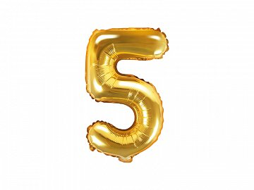 "Foil Balloon Number ""5"", 35cm, gold"