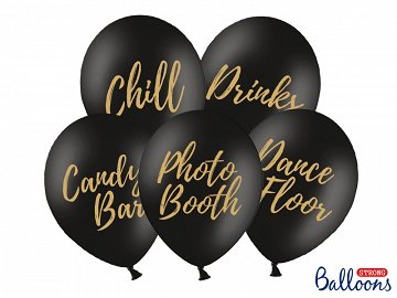 Balony 30cm, Candy Bar, Chill, Dance Floor, Drinks, Photo Booth, Pastel Black (1 op. / 5 szt.)