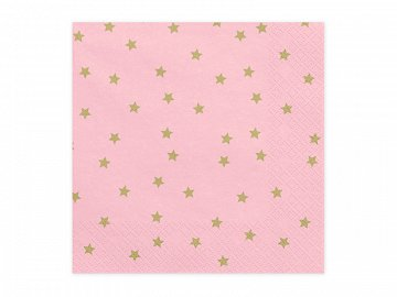 Napkins Stars, light pink, 33x33cm (1 pkt / 20 pc.)