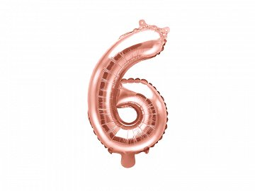 "Foil Balloon Number ""6"", 35cm, rose gold"
