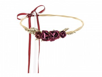 Flower crown, deep red, 18cm