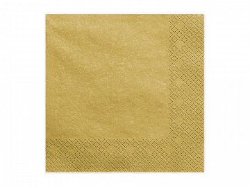 Napkins, 3 layers, gold metallic, 33x33cm (1 pkt / 20 pc.)