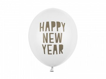 Balony 30 cm, Happy New Year, Pastel Pure White (1 op. / 50 szt.)